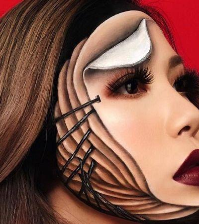 Usando apenas maquiagem, ela cria ilusões de ótica que vão bugar sua mente