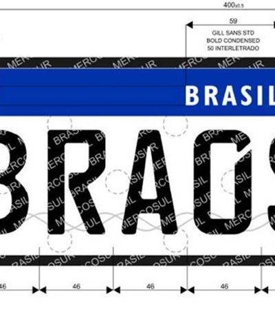 Brasil terá novas placas com chip seguindo padrão do Mercosul