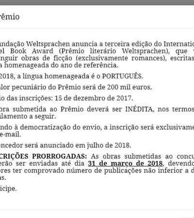 Acusado de fraude, prêmio causa incerteza ao oferecer R$ 800 mil para escritores