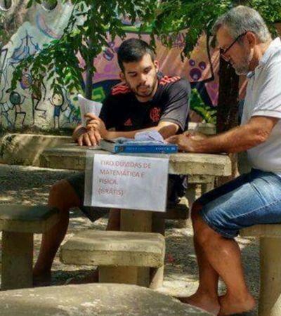 Engenheiro dá aulas de física e matemática de graça em praça do RJ