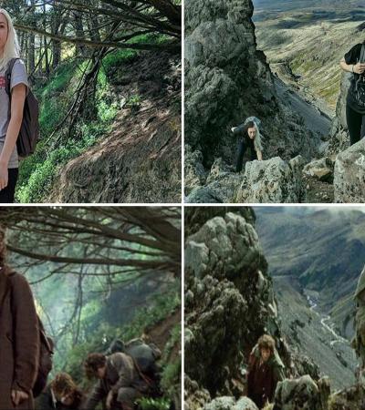 Ela visitou quase todas as locações de 'O Senhor dos Anéis', recriando cenas dos filmes