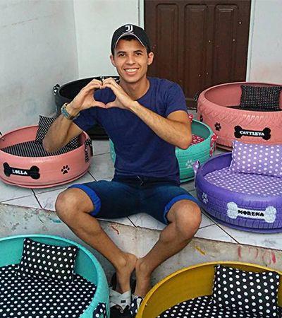 Jovem da Paraíba transforma pneus usados em camas para pets