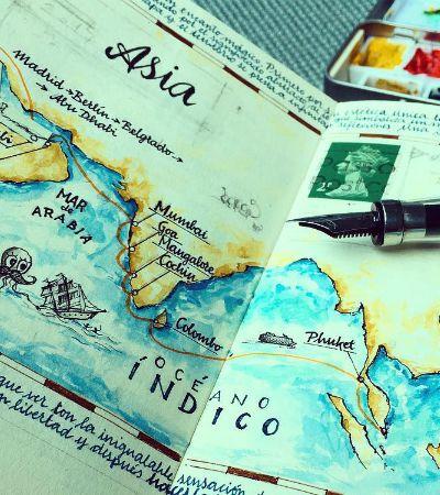 É assim que fica um caderno de rascunhos de um artista que ama viajar