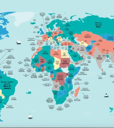 'Distrito das Ameixas Selvagens': Mapa traduz o significado dos nomes de várias cidades do mundo