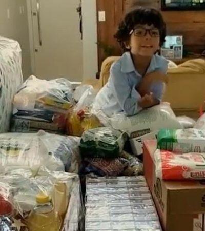 Presente solidário: Menino adotado usa aniversário para conseguir alimentos para crianças órfãs