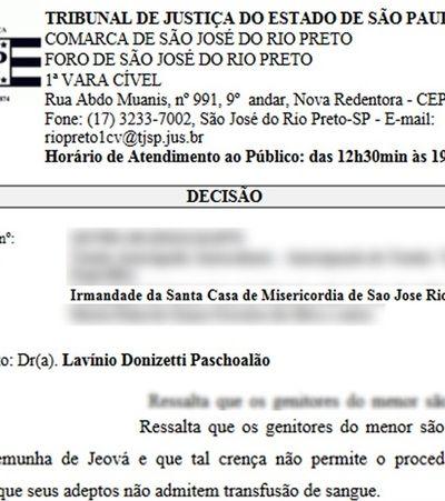 Santa Casa entra na justiça para autorizar transfusão a criança testemunha de Jeová