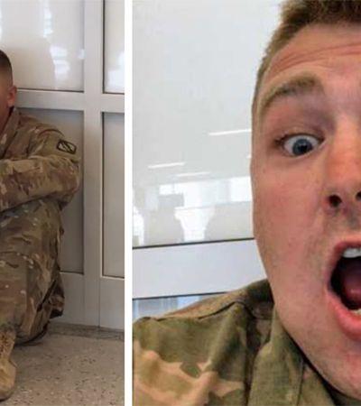 A linda reação do soldado que viu sua filha nascer pelo celular no aeroporto