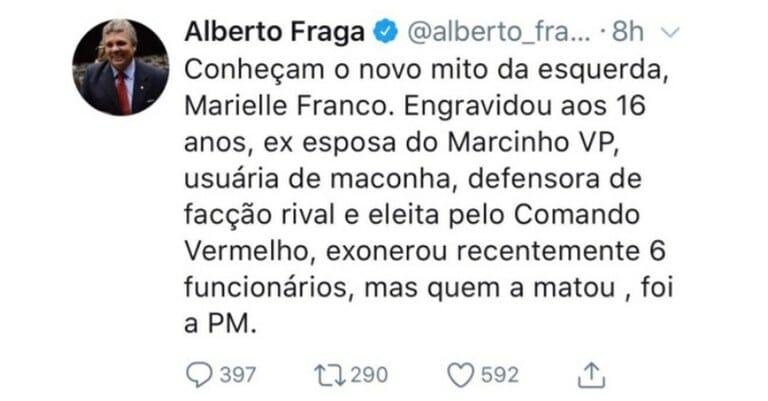 O post do deputado Alberto Fraga viralizou com informações falsas sobre Marielle Franco, mas foi desmentido pelo Aos Fatos e logo foi controlado. O deputado tirou o post do ar na sequencia