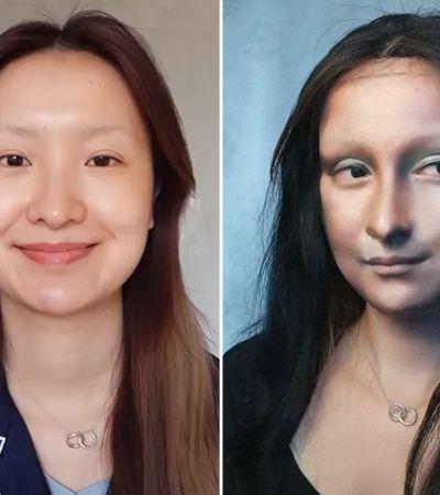 Ela foi desafiada a recriar a Mona Lisa só com maquiagem – e o resultado é incrível