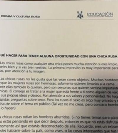 Federação argentina de futebol fez manual de como 'se dar bem' com russas