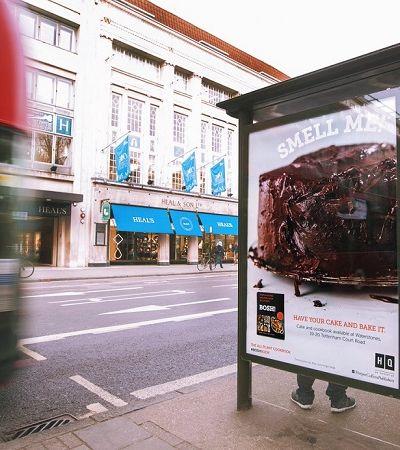 Anúncio de livro de receitas veganas espalha aroma de bolo de chocolate pelas ruas