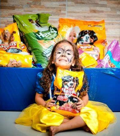 Menina troca presentes de aniversário por campanha de arrecadação para animais