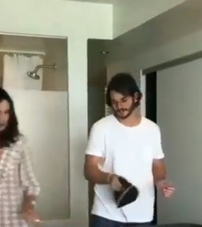 Fátima Bernardes ganha a internet com vídeo ensinando o namorado a passar roupa