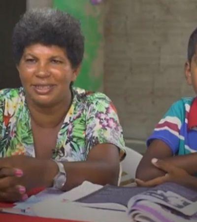 A história da catadora de lixo que contou com o filho de 11 anos para aprender a ler e escrever