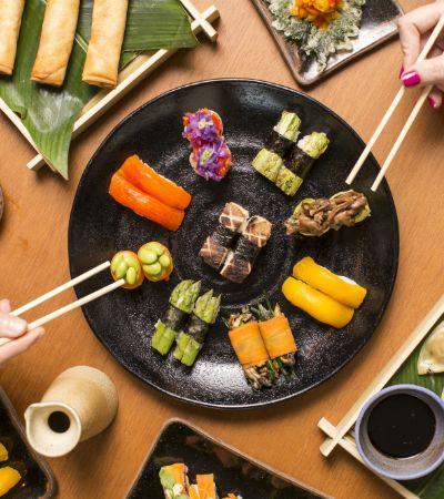 Rodízio de comida japonesa vegana prova que o sabor vai muito além do peixe