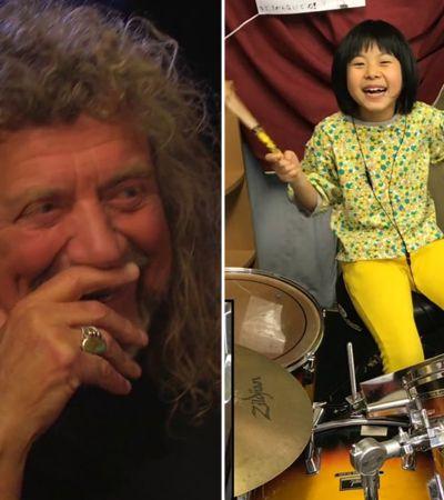 Robert Plant se encanta com baterista japonesa de 8 anos tocando clássico do Led Zeppelin