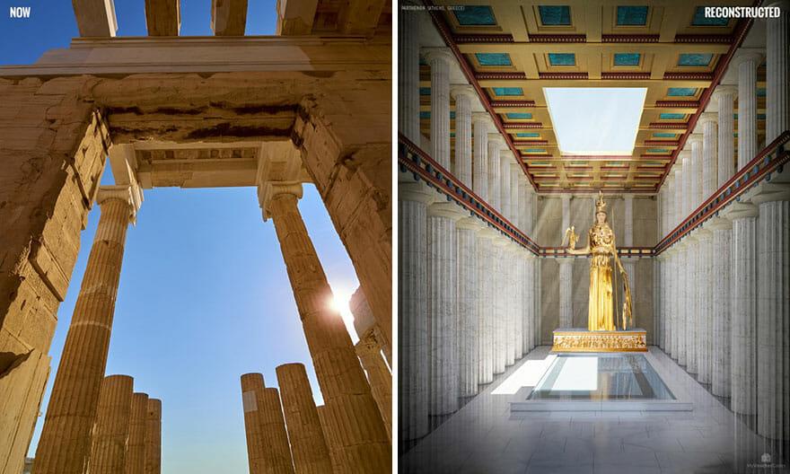 Sentado no topo da colina na Acrópole, o Parthenon foi construído em meados do século 5 aC para abrigar uma monumental estátua de ouro de Atena. Todos nós conhecemos o exterior deste templo icônico, mas o que aconteceu lá dentro? A gigantesca estátua tinha mais de 12 metros de altura e era esculpida em marfim e ouro - 1.140 quilos de ouro, para ser exato. Uma bacia de água estava na frente de Athena para fornecer umidade, que preservava o marfim. Essa demonstração óbvia de riqueza e poder enviou uma mensagem muito clara ao resto do mundo. E para aqueles sortudos o suficiente para ver o Partenon de dentro, no auge, a estátua deve ter sido nada menos do que inspiradora.