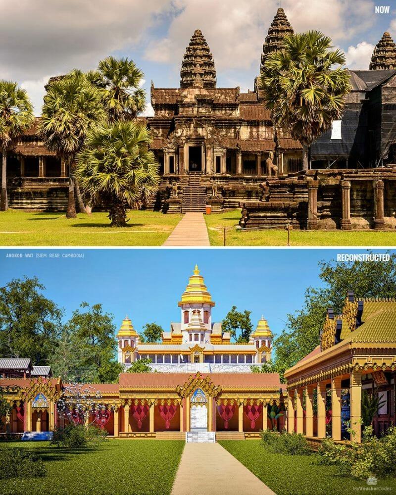 Este complexo foi originalmente um templo hindu dedicado ao deus Vishnu. Estima-se que levou cerca de 30 anos para ser construído. Passou para um templo budista no final do século XII e acredita-se ser o maior edifício religioso do mundo. De longe, Angkor Wat parece ser uma enorme massa de pedra. Uma vez lá dentro, no entanto, os visitantes encontrarão uma série de torres elevadas, varandas e pátios em diferentes níveis, ligados por uma série de escadas