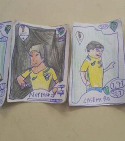 Sem dinheiro jovem do interior de SP desenha à mão figurinhas do álbum da Copa