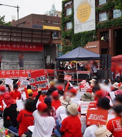 Protesto histórico mobiliza mulheres contra câmeras espiãs na Coreia do Sul