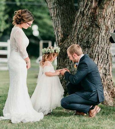 Durante casamento, padrasto pede enteada para aceitá-lo como pai