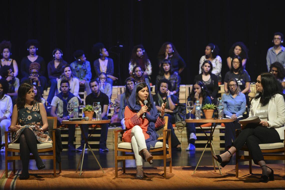 A ativista paquistanesa Malala Yousafzai, em visita à capital paulista, participou de evento no Auditório Ibirapuera