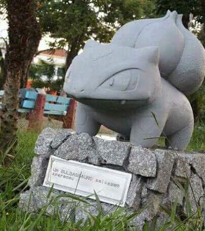 Ninguém sabe porquê, mas estátuas de Pokemons vêm aparecendo em cidade do interior SP
