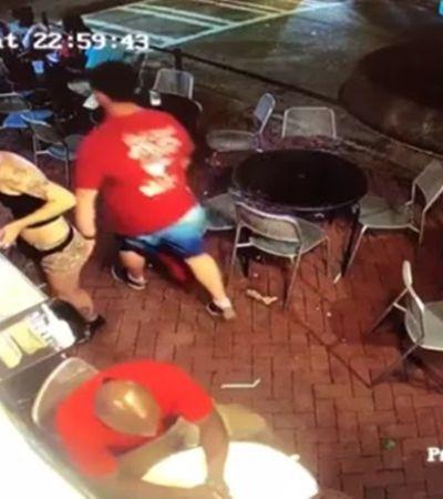 Homem passou a mão em garçonete, tomou uma surra dela e foi preso