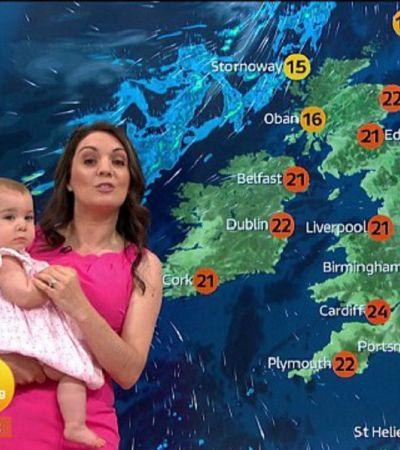 Ela apresentou a previsão do tempo com a filhinha no colo para apoiar mães que trabalham