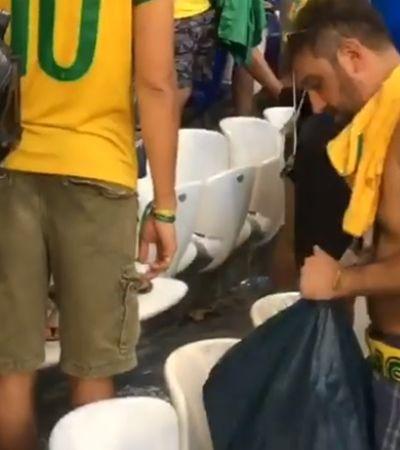 E o bom exemplo se repete: Brasileiros limpam estádio da Copa após vitória contra o México