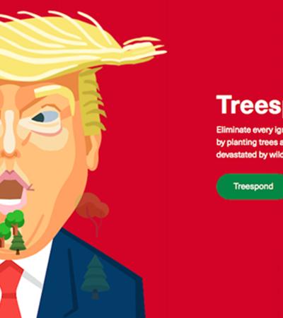 Site propõe o plantio de árvores a cada besteira sobre aquecimento global dita por Trump