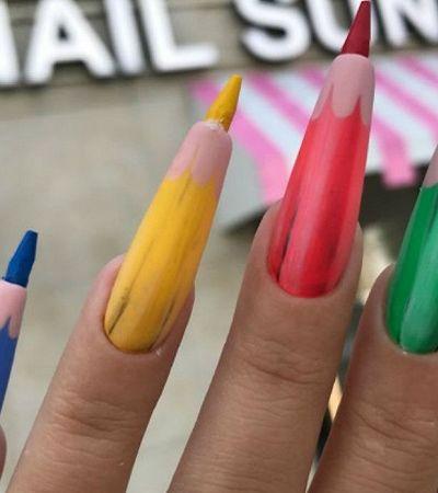 Estas unhas de lápis realmente funcionam e podem desenhar um arco-íris