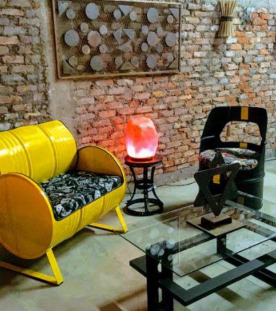 1º showroom de móveis upcycling no Rio transforma toneis, cordas e malas em puro design