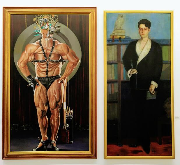 Obra de Portinari (direita) ao lado de Fernando Barril