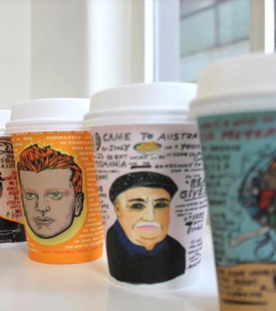 Cafeterias de Melbourne ilustram canecas para viagem com pessoas desaparecidas