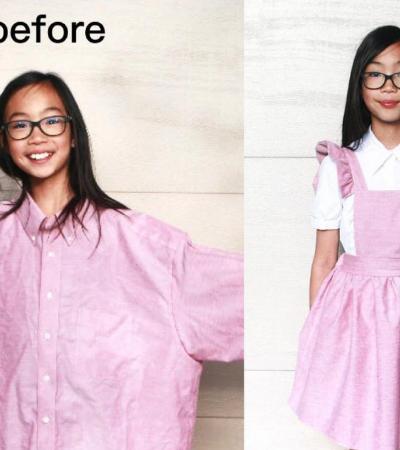 Ela transforma roupas velhas e sem caimento em peças estilosas e exclusivas