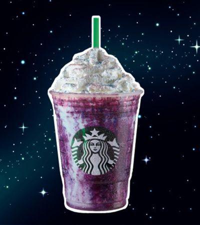 Com vários tons de roxo, Galaxy Frappuccino chega ao Starbucks.