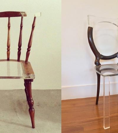 Artista brasileira 'conserta' cadeiras com acrílico e cria verdadeiras obras de arte