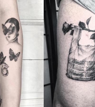 Lena Lu, a russa que tatua ilusões de ótica em seus clientes