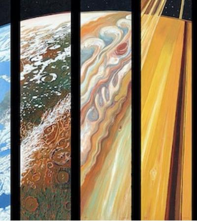 Artista une todos os planetas perfeitamente formando um novo universo incrível