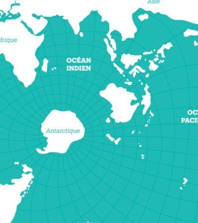 Este mapa fascinante de 1942 mostra os oceanos como foco do planeta