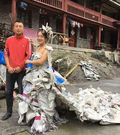 Chinesa cria impressionante vestido de noiva feito de sacos vazios de cimento