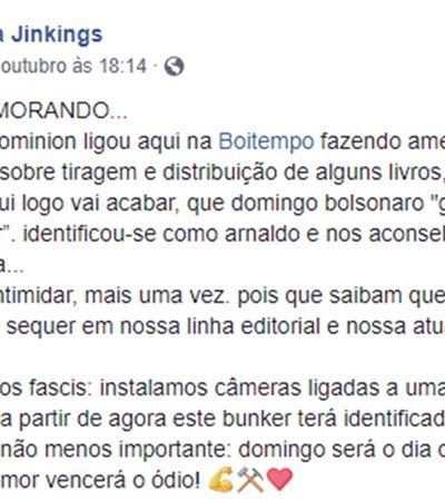 Editora Boitempo sofre ameaça de eleitor de Bolsonaro por publicar livros com teor político