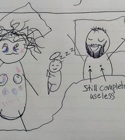 Mãe decide desenhar para marido entender porque ela acorda irritada e exausta