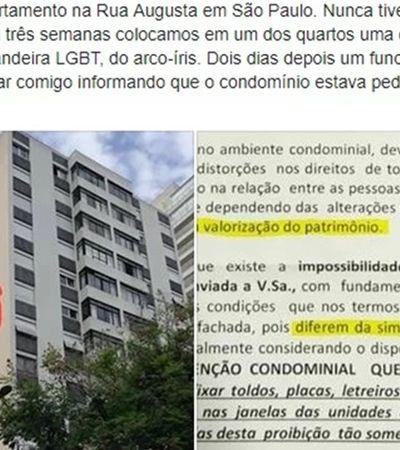 Morador é multado por colocar cortina LGBT na janela do apartamento