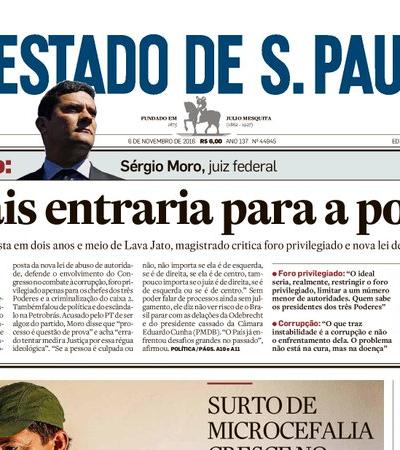 Ministro de Bolsonaro, Moro disse que nunca entraria para a política