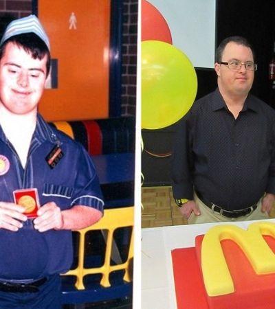Funcionário com síndrome de Down comemora 30 anos de trabalho no McDonald's