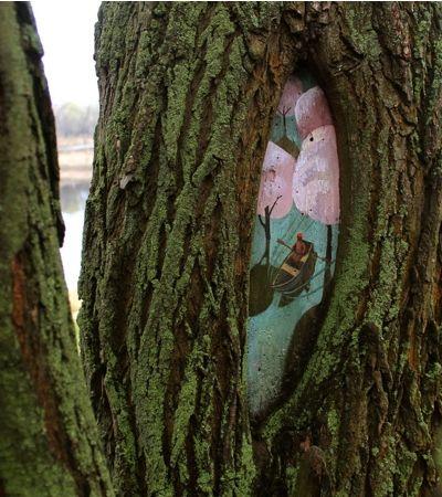 Arte natural: Artista russa usa árvores como suas telas