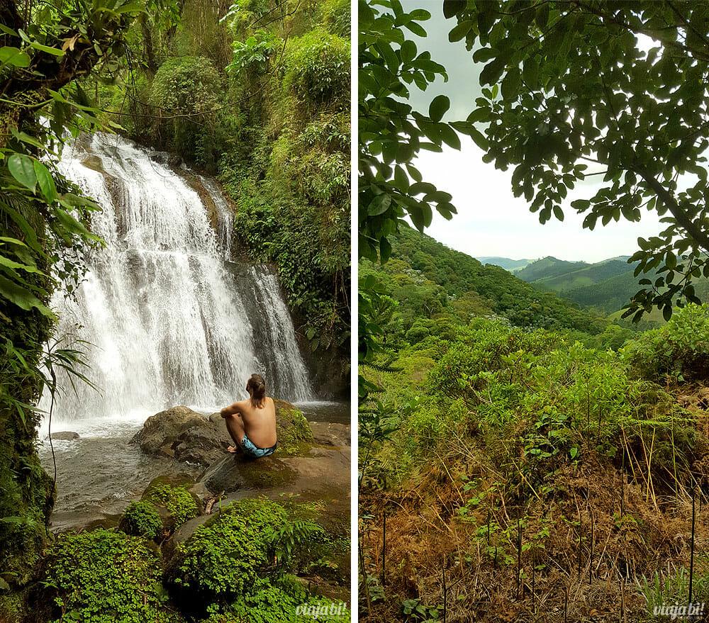 """Relaxando na cachoeira """"o Rei"""" e vista da trilha dentro de pousada em São Francisco Xavier - Foto: Rafael Leick / Viaja Bi!"""