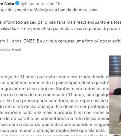Felipe Neto bane MC Melody de seu canal por apelo sexual após notificar pai da cantora